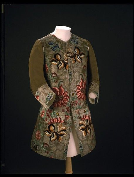 Waistcoat, circa 1734 via The Victoria & Albert Museum. When the waistcoat was introduced in the late 17th century, almost all were sleeved. As the 18th century progressed and coat sleeves became tighter, waistcoats became sleeveless for ease of movement. The inclusion of sleeves on this example suggests that it was a more formal garment, and allows the wearer to show off its lavish fabric at the cuffs.