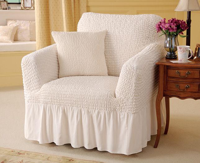Arm Chair Covers Valanced Armchair Cover And Cushion