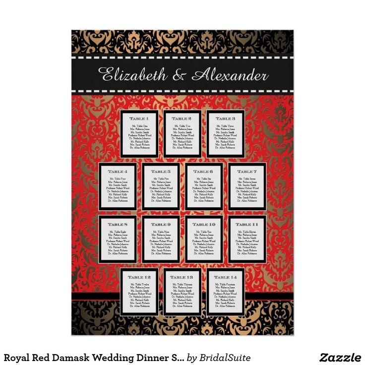 Royal Red Damask Wedding Dinner Seating Chart Poster