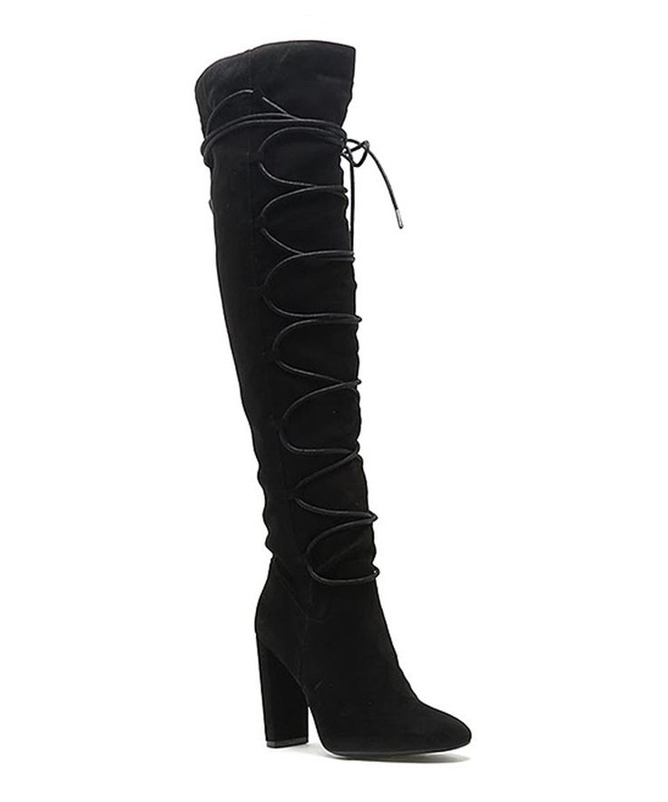 Qupid Black Corset York Boot by Qupid #zulily #zulilyfinds