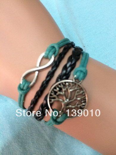 Работы черная Grean кожа веревка бесконечность дерево реальных ремешок браслет браслеты шарм мода женщины бижутерия бесплатная доставка