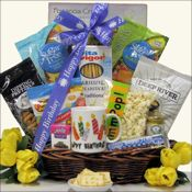 Sugar Free Birthday ($59.99)-  Our Sugar Free Birthday gift is perfect for a diabetic or someone who is watching their sugar. We have included Go Lightly Fruit Chews Sugar Free Candy, Sugar Free Jelly Belly Jelly Beans, Asher's Sugar Free Peanut Butter Truffle Bar, Grissini Original Breadsticks, East Shore Specialty Dipping Pretzels and more. A wonderful way to celebrate their special day.