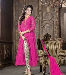 Buy Pink embroidered Georgette semi stitched salwar with dupatta wedding-salwar-kameez online