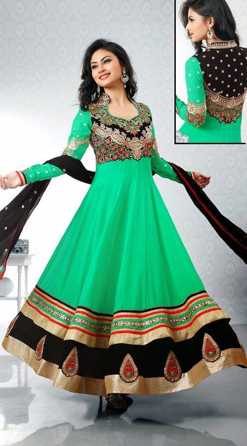 Mouni Roy In Sea Green Long Length Anarkali Suit 2FD3267360