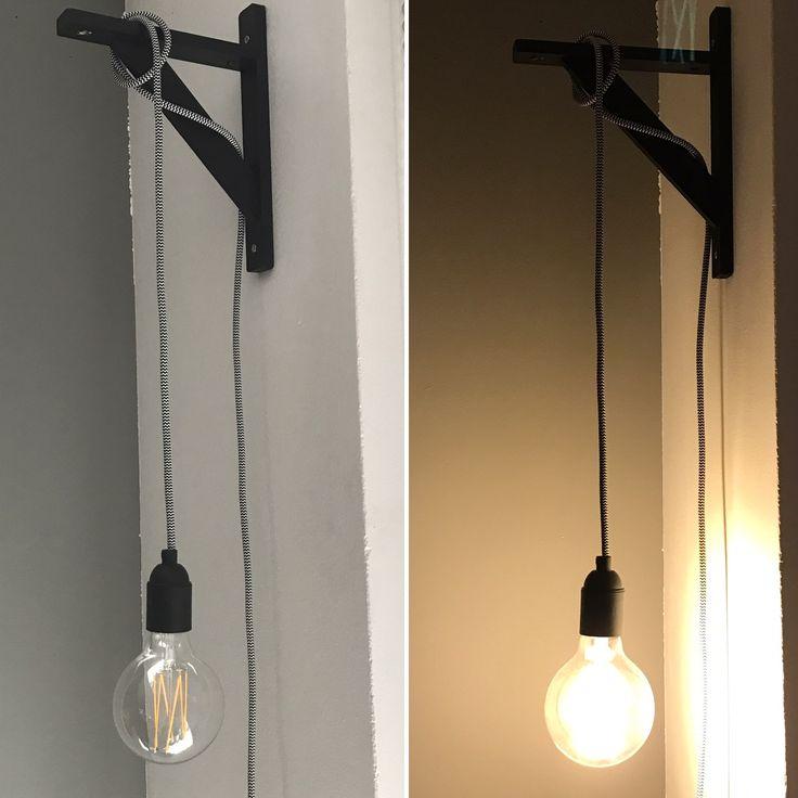 Deze leuke lamp hebben we zelf gemaakt! #snoerboer #strijkijzersnoer #karwei #lamp #wanddecoratie #woondecoratie #woonkamer #diy