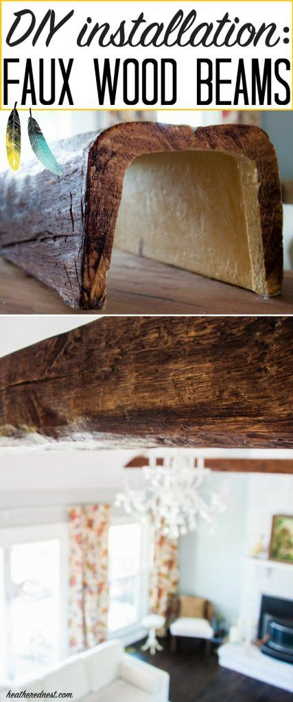WOW! They look just like real WOOD BEAMS! Faux beams are super affordable! Learn how to install faux beams with this popular DIY tutorial from heatherednest.com