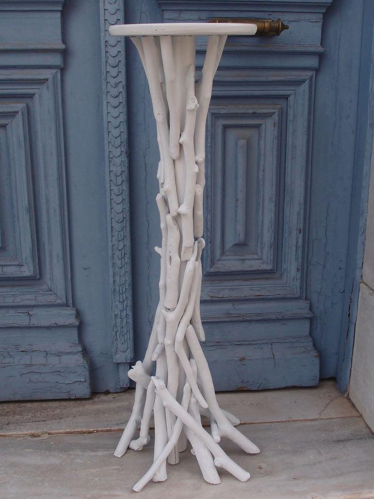 βάση λαμπάδας-ανθοστήλη από θαλασσοξυλα (ξύλα θαλάσσης)σε λευκό χρώμα (KRONOS 1) διάσταση 100cm. για παραγγελίες  και σε όποια διάσταση θέλετε τηλ 6976773699 ...Δεξίωση | Στολισμός Γάμου | Στολισμός Εκκλησίας | Διακόσμηση Βάπτισης | Στολισμός Βάπτισης | Γάμος σε Νησί - στην Παραλία.