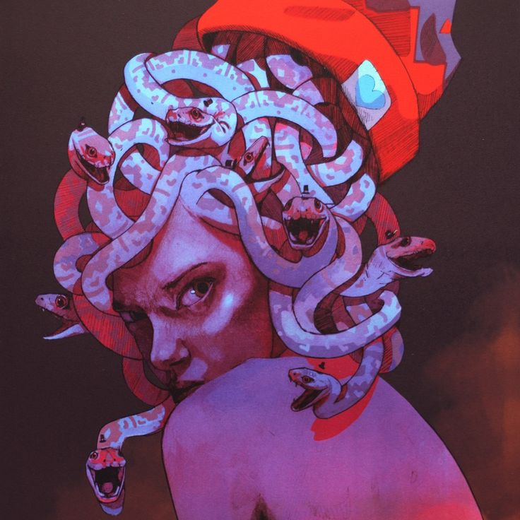 """Fantastic """"Medusa"""" lithograph by the street artist Bezt. Discover more information here."""