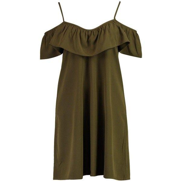 Boohoo Ola Cold Shoulder Shift Sundress ($14) ❤ liked on Polyvore featuring dresses, maxi sundresses, party dresses, body con dresses, jersey maxi dress and bodycon maxi dress