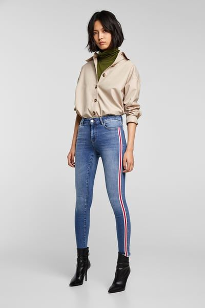 68559a42 Image 1 of SIDE STRIPE JEANS Z1975 from Zara | Striped jeans outfit ...