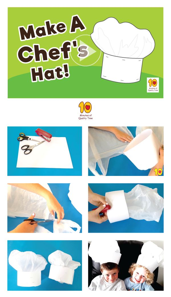 Hot to make a DIY Chef's Hat for Kids This is a fun activity you can do with the kids at home. All you will need is - 1. Scissors 2. Stapler 3. White paper or card stock 4. A plastic bag Have fun!
