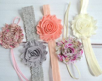 Shabby chic baby headband set of 5 headbands, newborn headband, infant headbands, baby hair bow, baby shower gift, vintage baby headband set