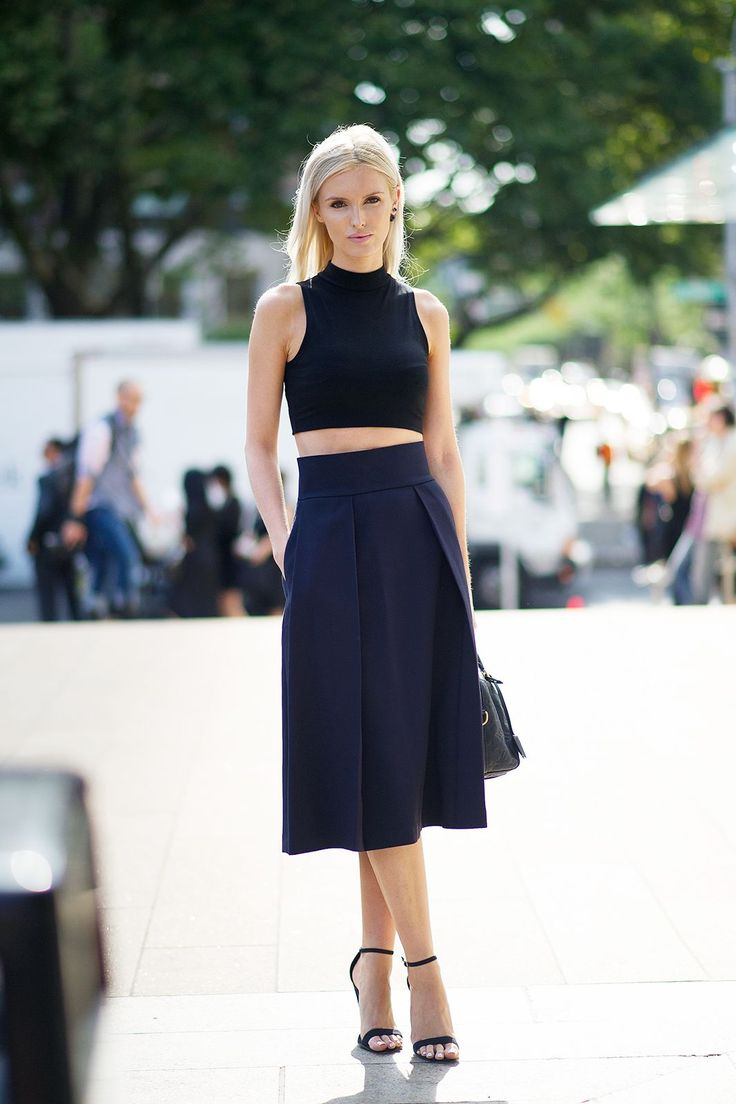 How To Do All Black In The Summertime #refinery29  http://www.refinery29.com/69152#slide-1  A simply cut crop top and knee-length shorts make for a minimalist outfit that still feels directional.