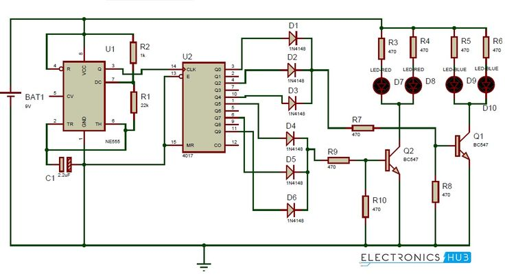 Police Lights Circuit Using 555 Timer And 4017 Decade Counter