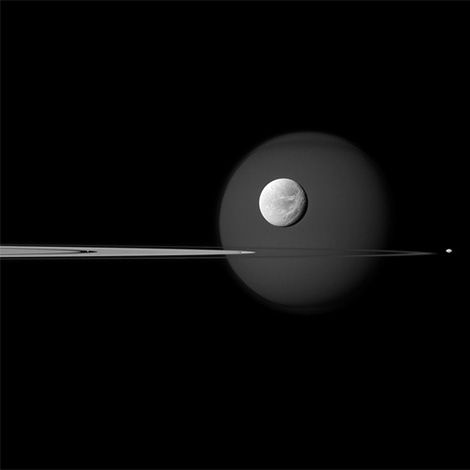 Moons of Saturn captured by the international Cassini spacecraft