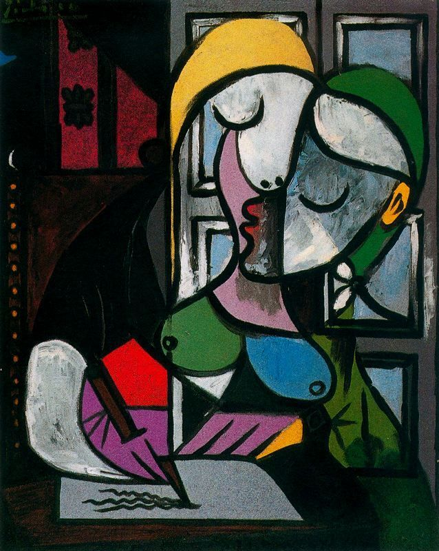 Pablo Picasso. I think this Painting is pretty cool because the background has squares and rectangles and he made the picture out of shapes making it look like it is one person but at the same time you could see two people. Pia Eid Art 6/04