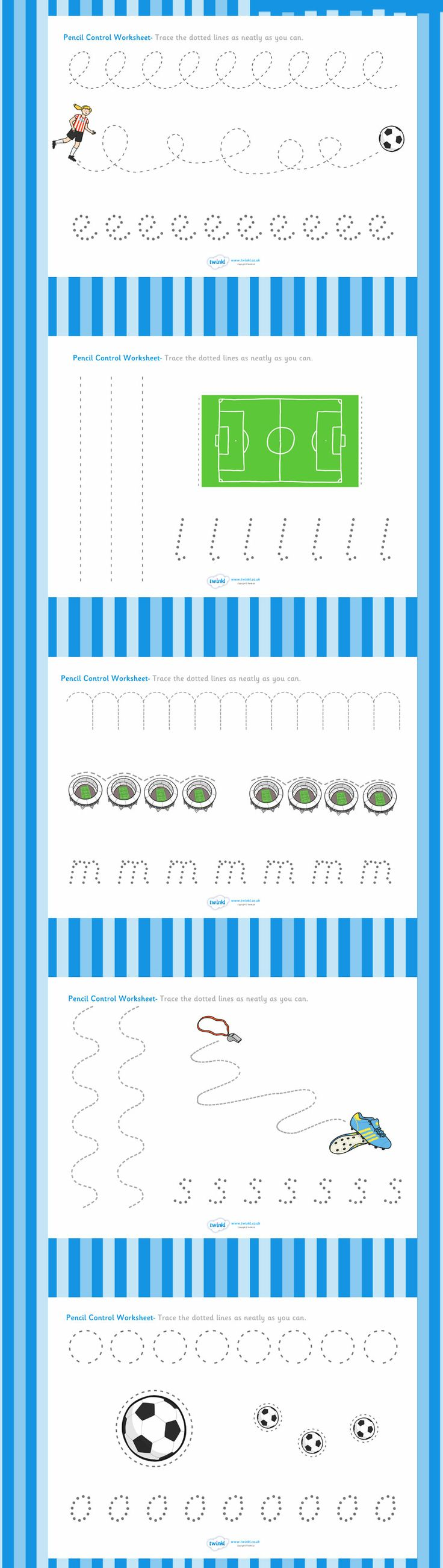 Football/World Cup- Pencil Control Worksheets