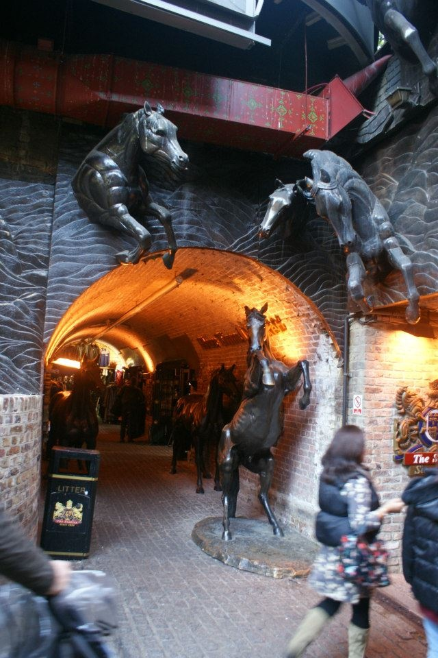 The Camden Stables Market in London, consists of a group of 19th century horse stables, horse hospital, workshops, warehouses and vaults, all connected by cobbled lanes, with it's various levels connected by ramps.