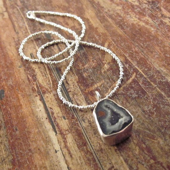 Mini Geode Druzy Drusy Necklace on Hill Tribe Silver Beads, Beaded Necklace, Women's Necklace, Pendant Necklaces, Stone Necklace, Statement...