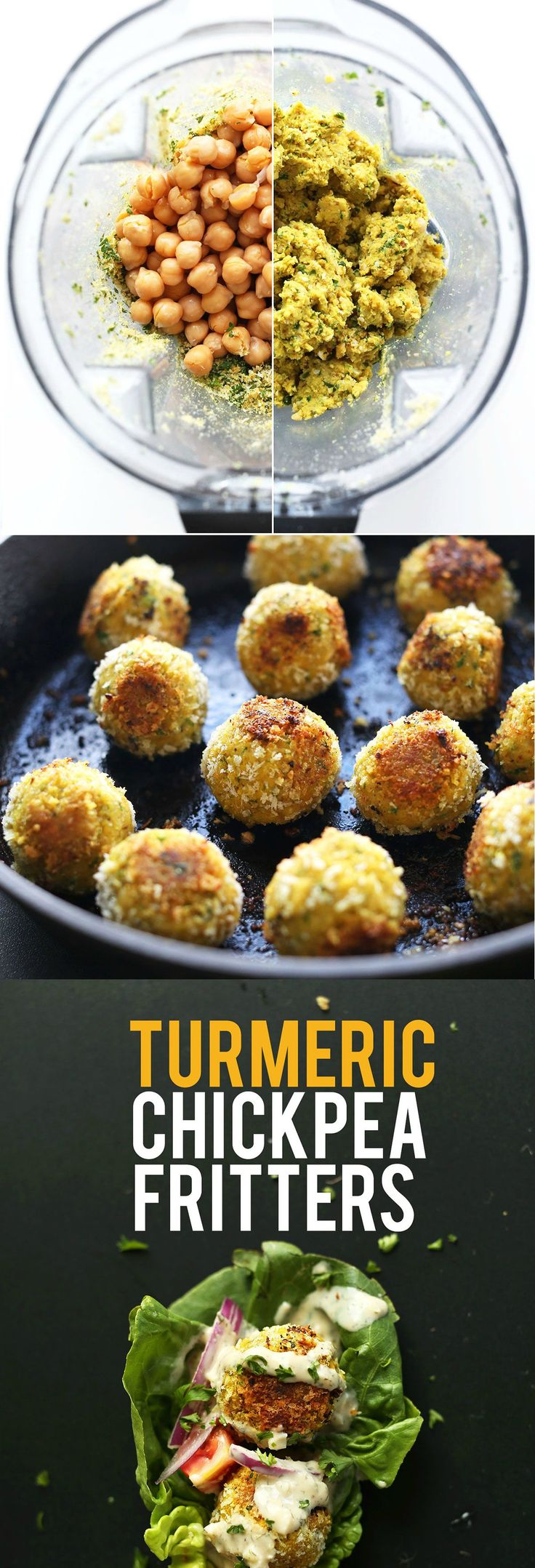 AMAZING 30 Minute TURMERIC Chickpea Fritters! Little falafel-like pillows of bliss // SO flavorful!