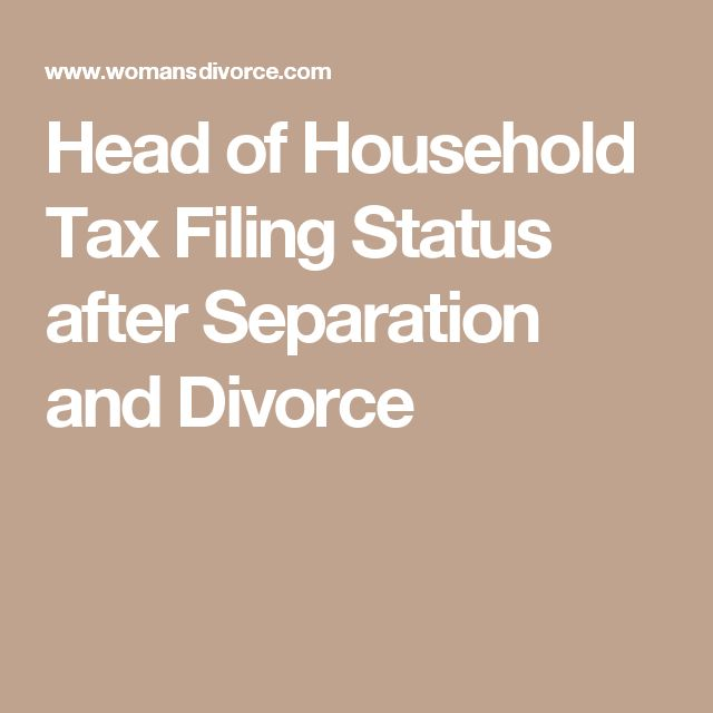 Head of Household Tax Filing Status after Separation and Divorce