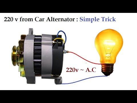 220v to 300v AC from 12v Car Alternator at Low RPM Amazing
