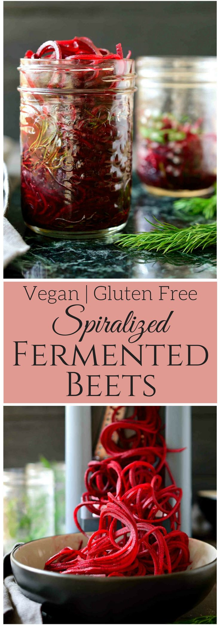 Spiralized fermented beets are an amazingly versatile condiment that's stupid easy to make and incredibly flavourful. All you need are beets, salt, dill and time to get these delicious sweet and sour beet noodles that you can use in salads, sandwiched, Buddha bowls, avocado toast and much more!