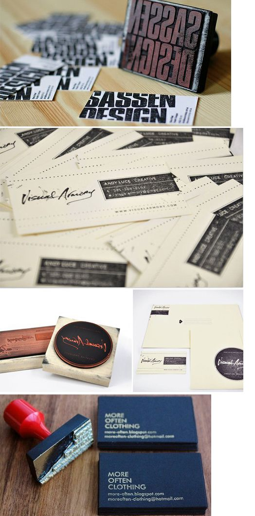 Good examples of stamps for business cards... she mentions where to buy the paper but not the stamps    KMG - Kathy McGraw Graphiques - Blog - BUDGET DESIGN: Hand Stamped BusinessCards