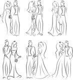Illustration: Силуэт жениха и невесты, фон, свадебные приглашения, вектор