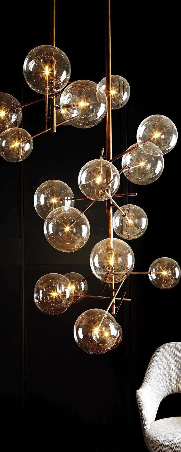 Bolle, Hanging lamp. Metal parts in hand burnished brass. Designed by Massimo Castagna for Gallotti&Radice