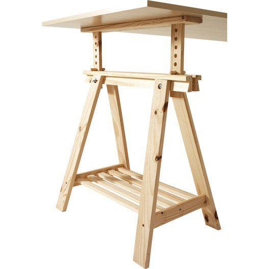 Tréteau Pin Architecte, 70x21.6 cm, pour charge utile de 100 kg