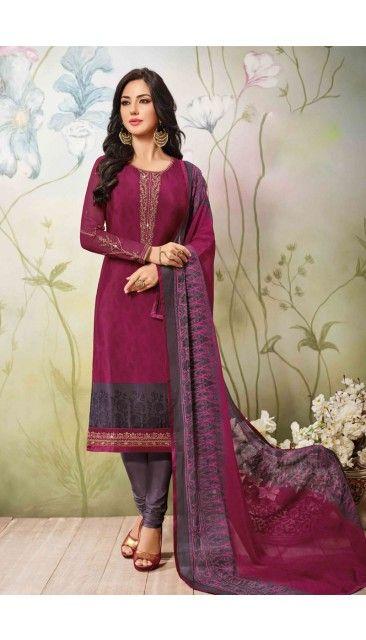 Gorgeous #Pink #Crepe #Churidar #Suit With #Dupatta #IndianDresses #Fashion #designerdresses - DMV15058