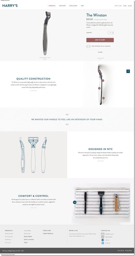 Harry's product page ecommerce