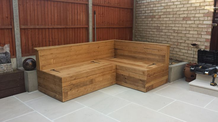 Make your patio perfect with bespoke garden furniture custom made to fit your space and requirements.   This handmade seating area with coffee table comes with a built in storage solution; lift the hinged seat and keep your patio space clear and tidy.  Contact us to receive your free quote. Prices start from £500 (based on your size requirements).    http://bfmspecialists.co.uk/portfolio/gardens/