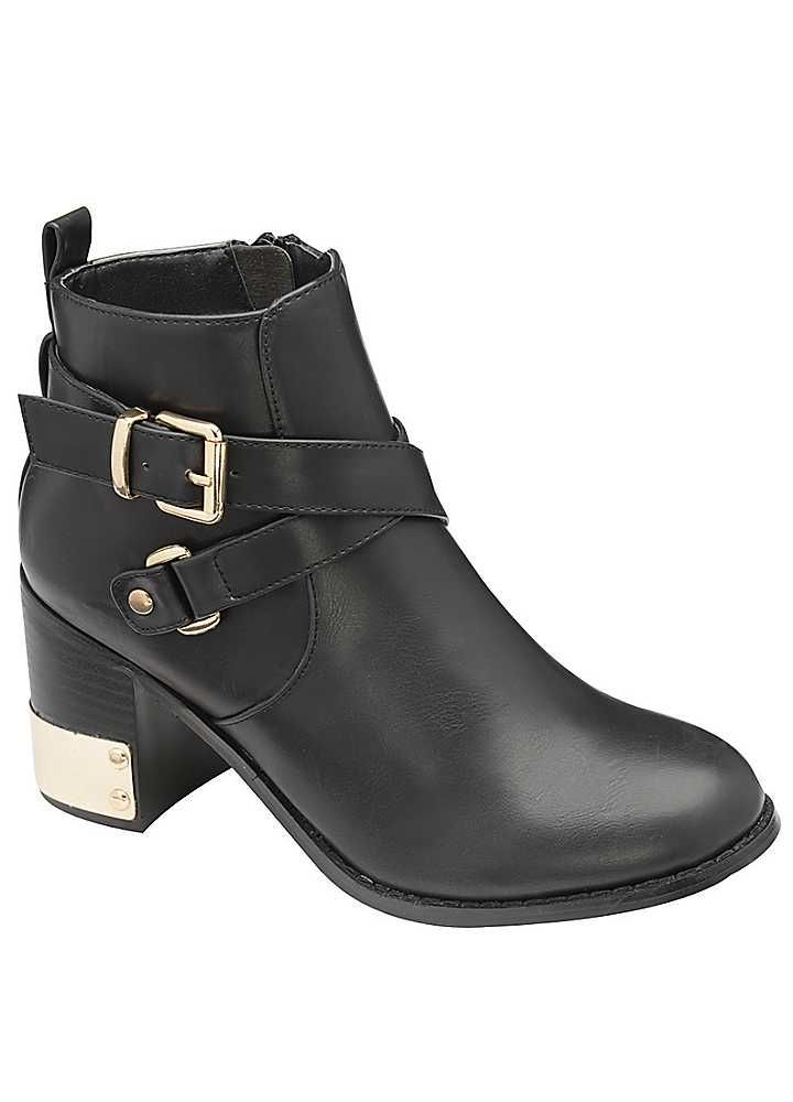 Chunky heeled ankle boot with side zip and gold buckle detailing with gold  coloured heel cap