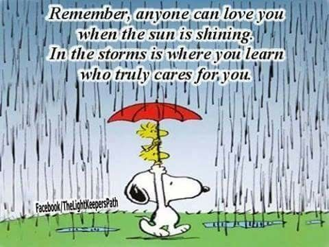 In storms you learn who really cares for you. Snoopy and friends.