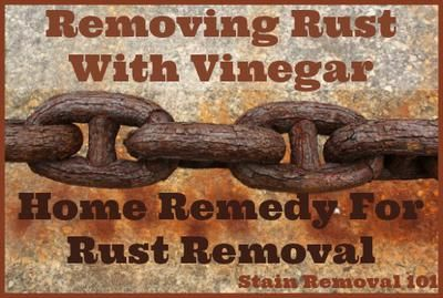 Yes, vinegar can remove rust from metals. Simple, natural, cheap! {details on Stain Removal 101}