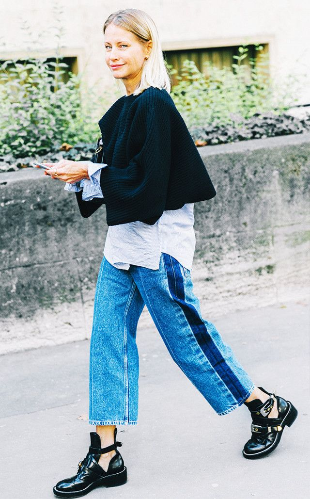 Wide leg jeans, balenciaga boots, layering street style