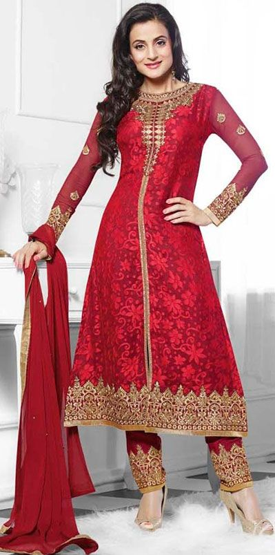 USD 58.1 Red Brasso Long Churidar Suit 42670