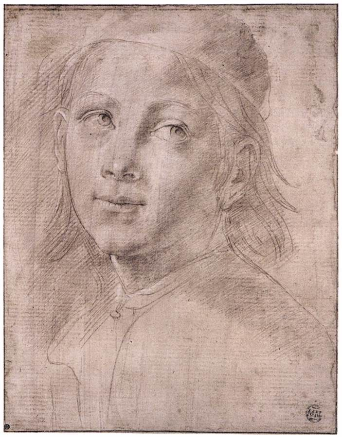 LORENZO DI CREDI - Bust of a Boy Wearing a Cap, c. 1480, Metalpoint with white highlights on pale, brownish pink prepared paper, 245 x 188 mm, Musée du Louvre, Paris