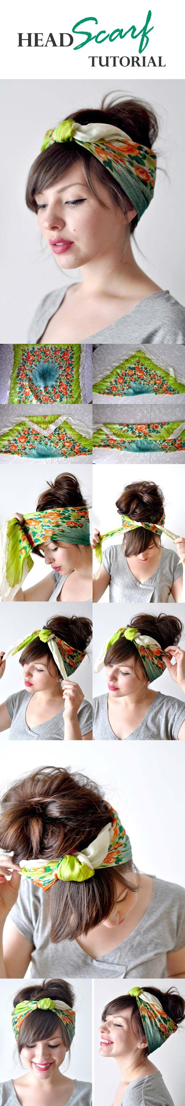 Festival Hair Tutorials - HEAD SCARF TUTORIAL - Short Quick and Easy Tutorial Guides and How Tos for Braids, Curly Hair, Long Hair, Medium Hair, and that Perfect Updo - Great Ideas for That Summer Music Edm Show, Whether It's A New Hair Color or Some Awesome Accessories and Flowers - Boho and Bohemian Styles with Glitter and a Headband - thegoddess.com/festival-hair-tutorials