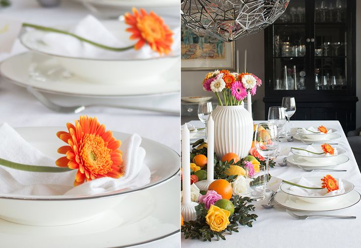 Konfirmasjon borddekking fargerik collage 3 table setting colorful