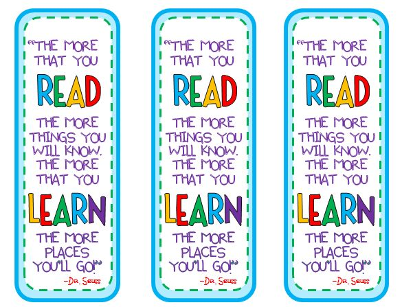 dr seuss bookmarks beginning of year gifts to my