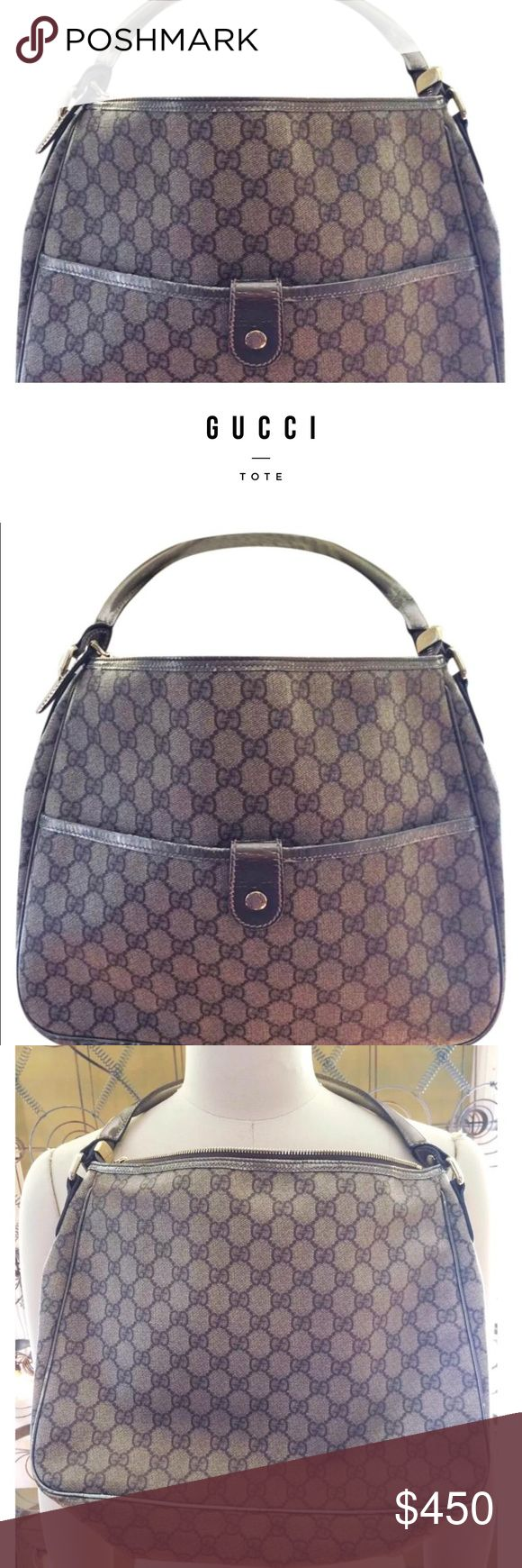 GUCCI TOTE 👜 Authentic gorgeous Gucci shoulder bag with pattern and silver leather detail. Gorgeous. Has some fading on silver leather but still in good condition. Gorgeous bag. One strap has wear and the silver strap on the leather, it is cracking slightly. Gucci Bags Hobos