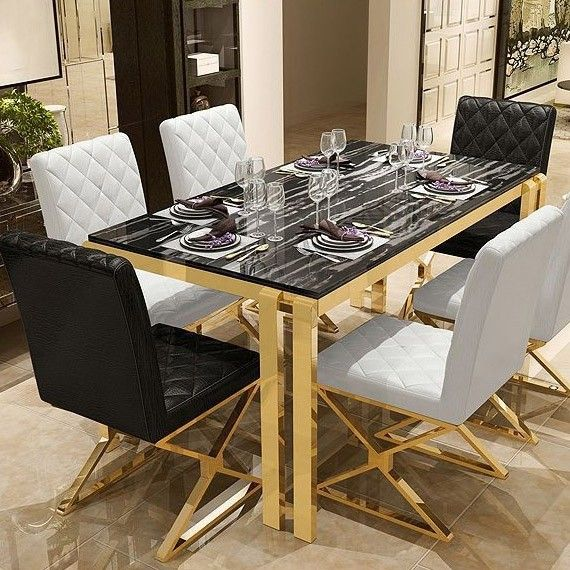 Modern Upholstered White Black Pu Leather Dining Chair Set Of 2 Stainless Steel Leg Gold Glamourous Dining Room Dining Chairs Stylish Dining Room