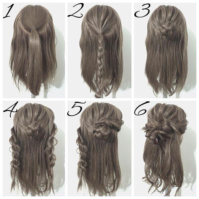 ☆簡単ヘアアレンジ☆ 今回は三つ編みとロープ編みで作るお団子ハーフアップです☝🏻️ ①、トップを一本に結び、ほぐします。 ②、①の毛先を三つ編みします。 ③、②の三つ編みをくるくると巻いてお団子を作ります。 ④、両サイドをロープ編みします。 ⑤、右側のロープ編みを③のお団子に巻きつけてピンで留めます。 ⑥、左側のロープ編みも同様にお団子に巻きつけてピンで留めます。毛先をコテで巻きます。最後に全体のバランスを見ながらほぐして完成です🙋🏻 お団子を作る前に三つ編みをほぐしておいてください💡 お団子の作り方とロープ編みのやり方は、 【YouTube】に載せています🙌🏻 わかりにくいとこなどがあれば是非聞いてください🙇🏻 DMやLINE@でも大丈夫ですよ🙆🏻 その他にリクエストがあればお応えしますよ😏…