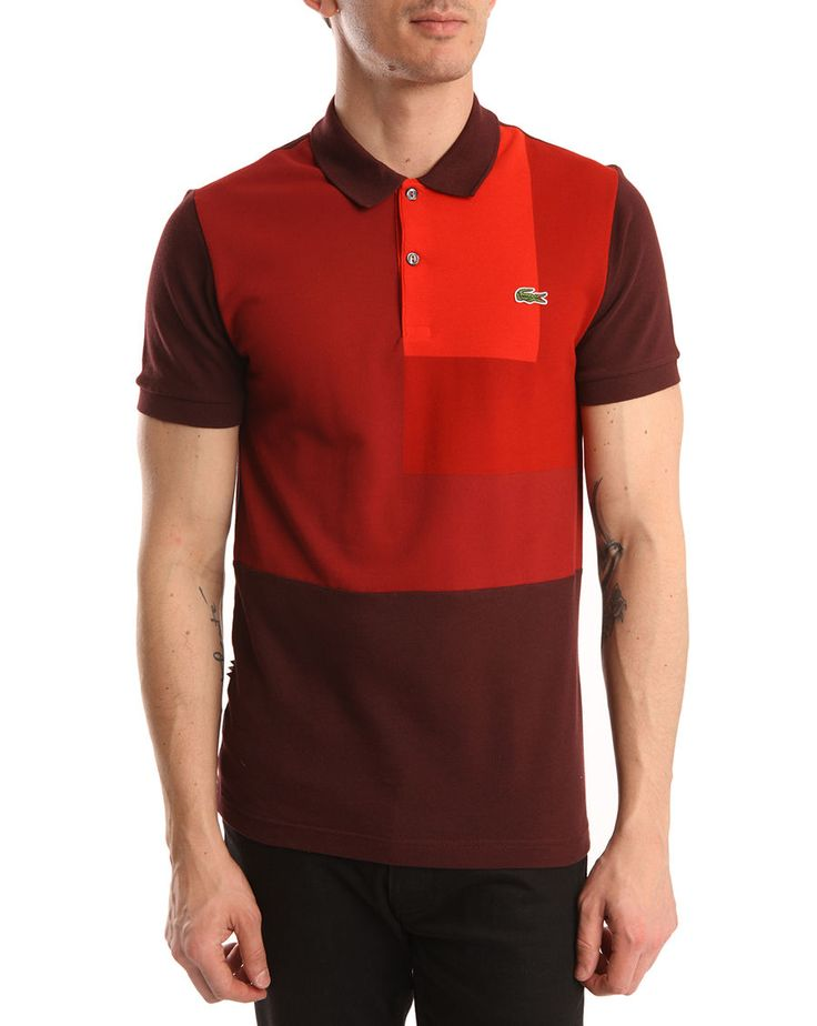 LACOSTE LIVE - Polo graphique rouge Live (taille M)