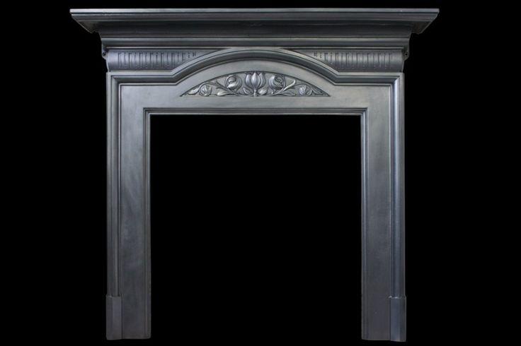 Antique Edwardian Art Nouveau cast iron fireplace surround