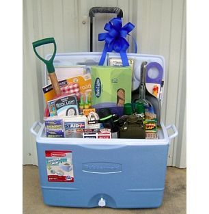 Camping gift basket - Have seen a number of cooler baskets - but this is the first with a camping theme - really like this!