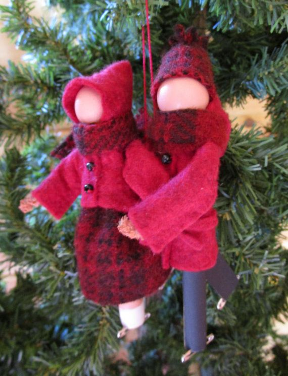 Ice Skating Couple Christmas Ornament - Clothespin Ornament